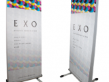 EXO - double sided, heavy duty banner stand that is perfect for outdoor use