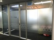 Frosted/privacy film with cut out lettering